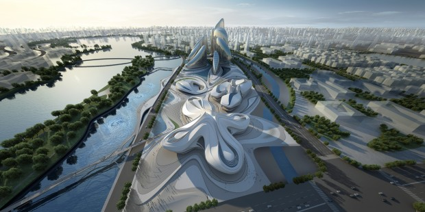 51391c66b3fc4b176f0000c2_changsha-meixihu-international-culture-and-art-centre-zaha-hadid-architects_03_aerial_view