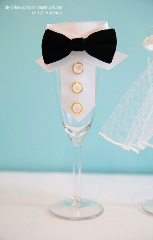 DIY Bride And Groom Toasting Flutes