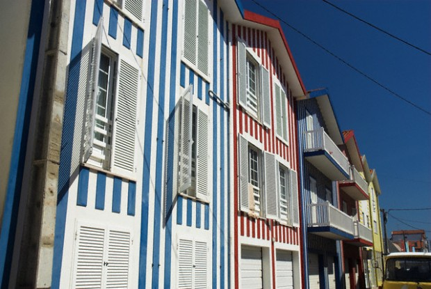 Traditional striped painted houses, Costa Nova, Beira Litoral, Portugal