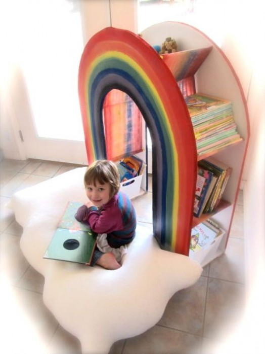 Amazing DIY Rainbow Bookcase For Your Kids