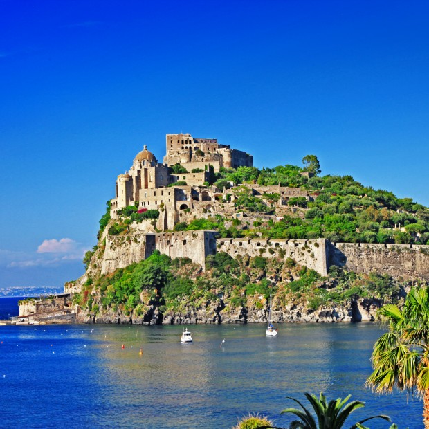 view of medieval Aragonese castle. Ischia island