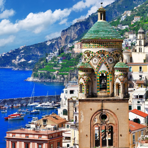 beautiful Amalfi, Italy.  view with church
