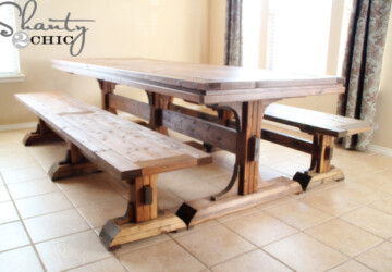 DIY Triple Pedestal Bench -
