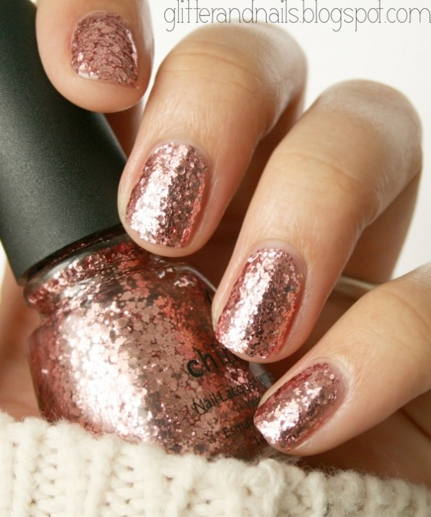 Rose Gold Nail Glitter: 24 Delightfully Cool Ideas For Wedding Nails