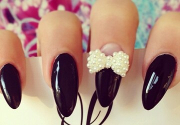 33 Cute Nail Ideas With Bows - nails, fashion, bows