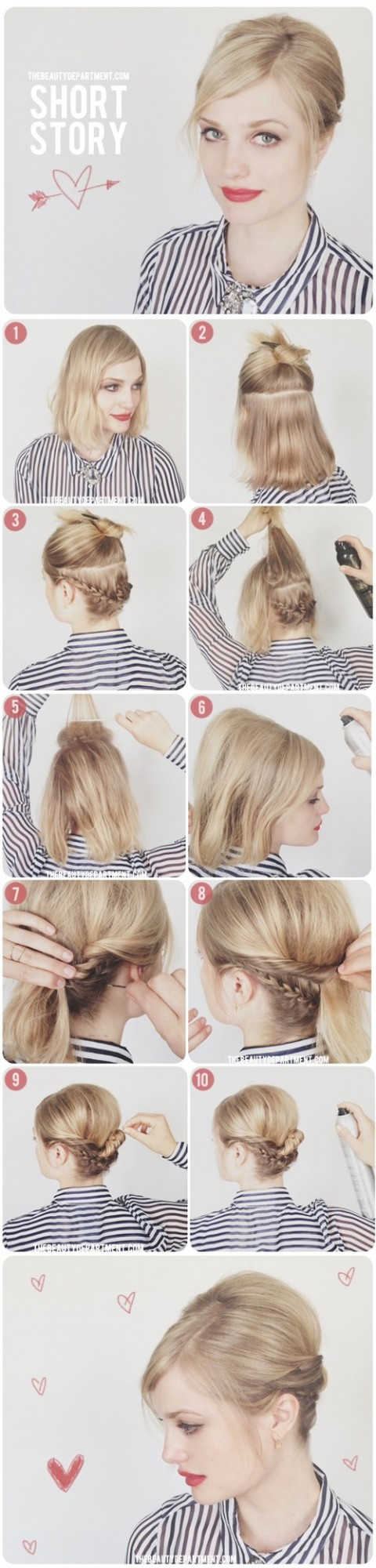Amazing And Easy Hairstyles Tutorials For Hot Summer Days - Easy hairstyle for short hair tutorial