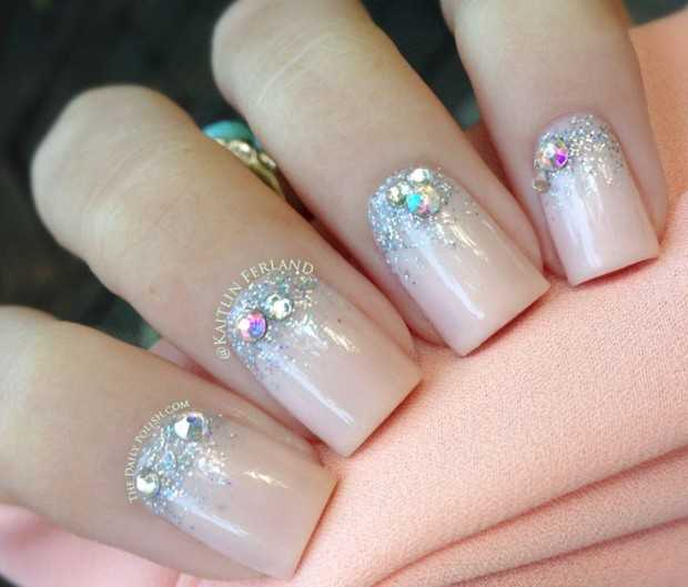 Nail art with rhinestones, gems, pearls and studs  (1)