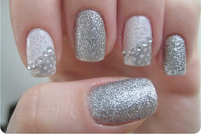 Nail art with rhinestones, gems, pearls and studs  (11)
