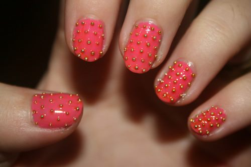 Nail art with rhinestones, gems, pearls and studs  (13)