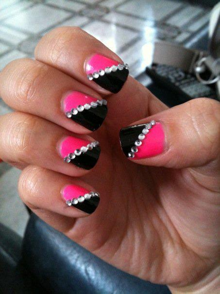 Nail art with rhinestones, gems, pearls and studs  (14)