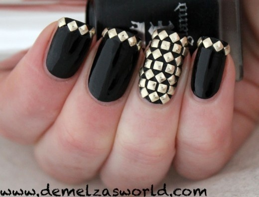 Nail art with rhinestones, gems, pearls and studs  (19)