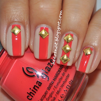 Nail art with rhinestones, gems, pearls and studs  (2)
