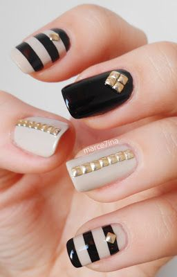 Nail art with rhinestones, gems, pearls and studs  (23)