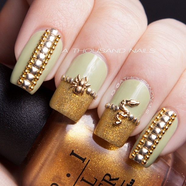 Nail art with rhinestones, gems, pearls and studs  (6)