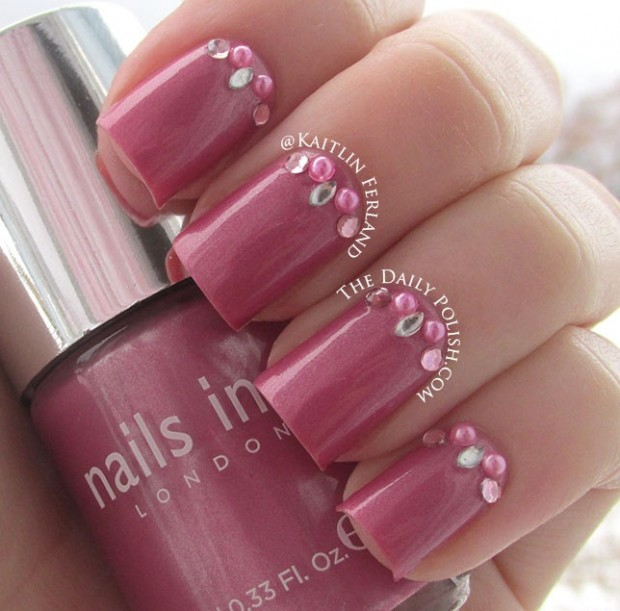 33 Amazing Nail Art Ideas With Rhinestones, Gems, Pearls