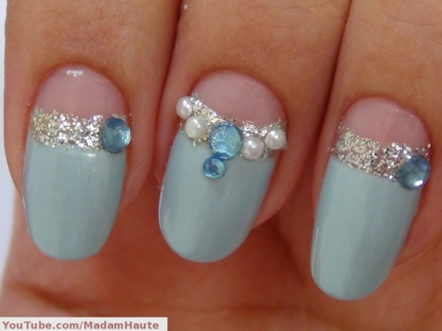 Nail art with rhinestones, gems, pearls and studs  (8)