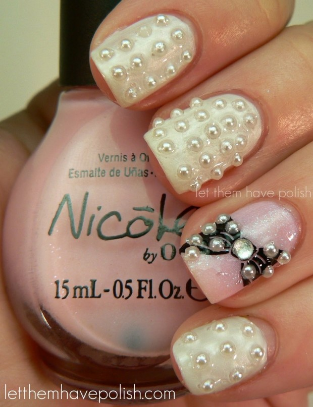 Nail art with rhinestones, gems, pearls and studs  (9)