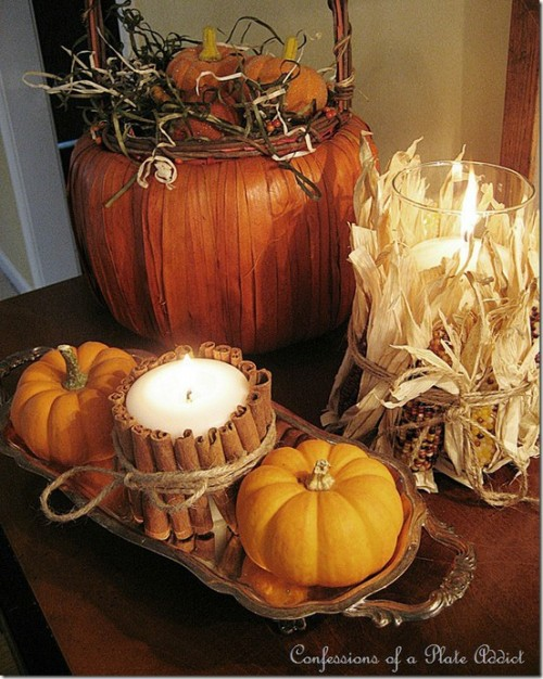 26 great fall table decorating ideas style motivation for Pictures of fall table decorations