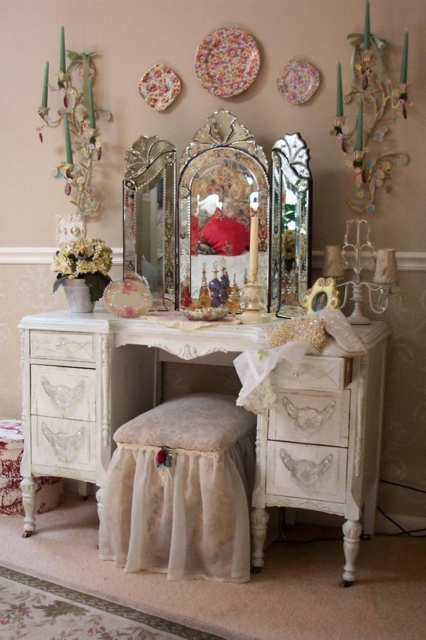 23 gorgeous dressing tables style motivation - Cortinas vintage dormitorio ...