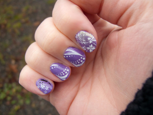 OPI A Grape Fit! with white nail art