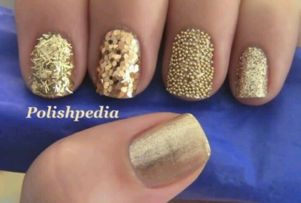 Golden Tones on Your Nails 24 Perfect Nail Art Ideas (16)
