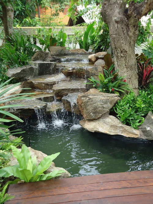 26 amazing garden waterfall ideas style motivation for Garden waterfall fountain