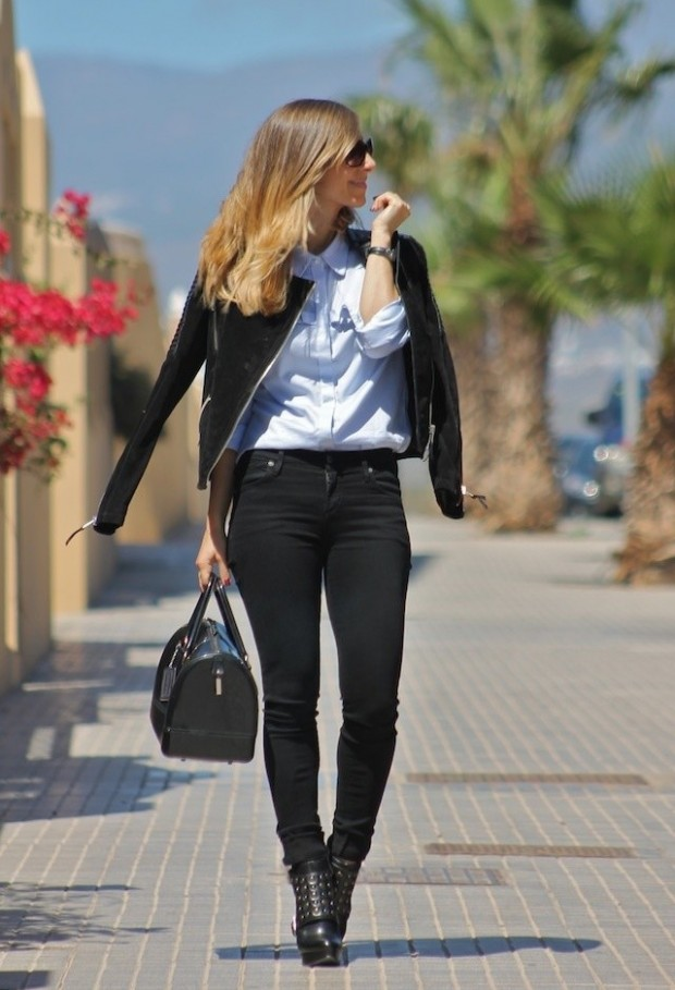 19 Cool Outfit Ideas with Leather Jackets (9)