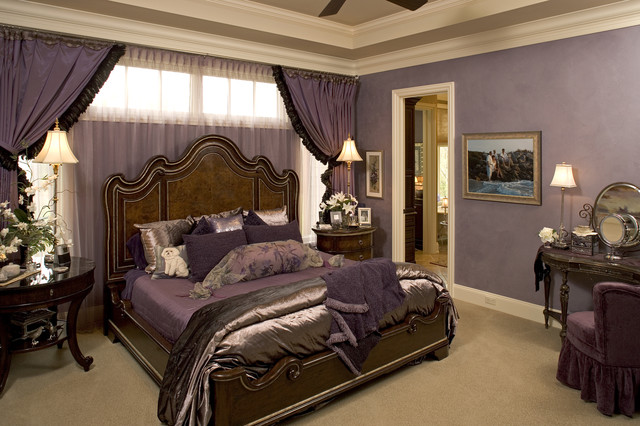 20 master bedroom design ideas in romantic style style Purple and gold bedrooms