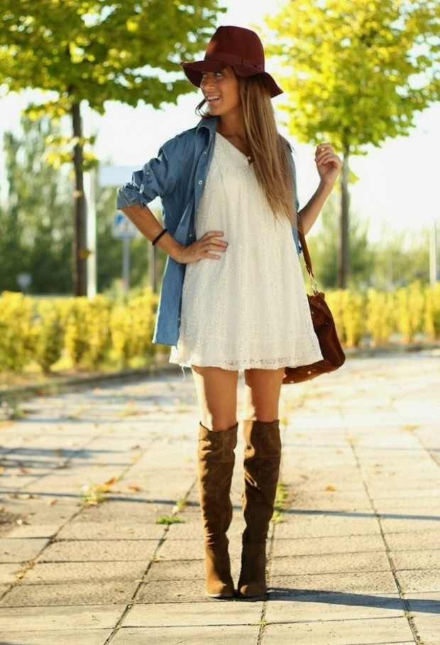 24 Gorgeous Ideas How to Wear Dress and Skirt in Cold Weather (7)