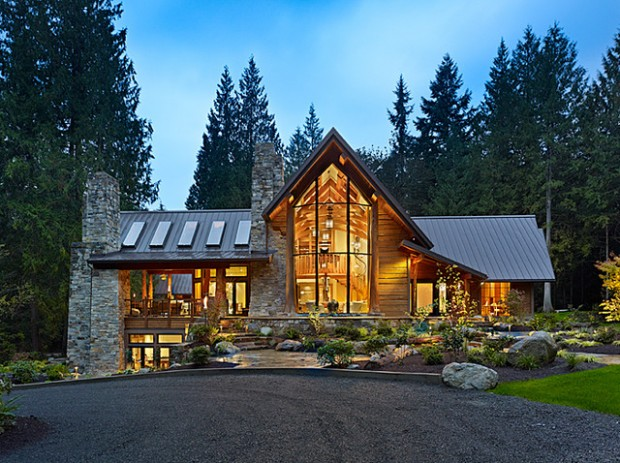 25 amazing mountain houses style motivation for Big amazing houses