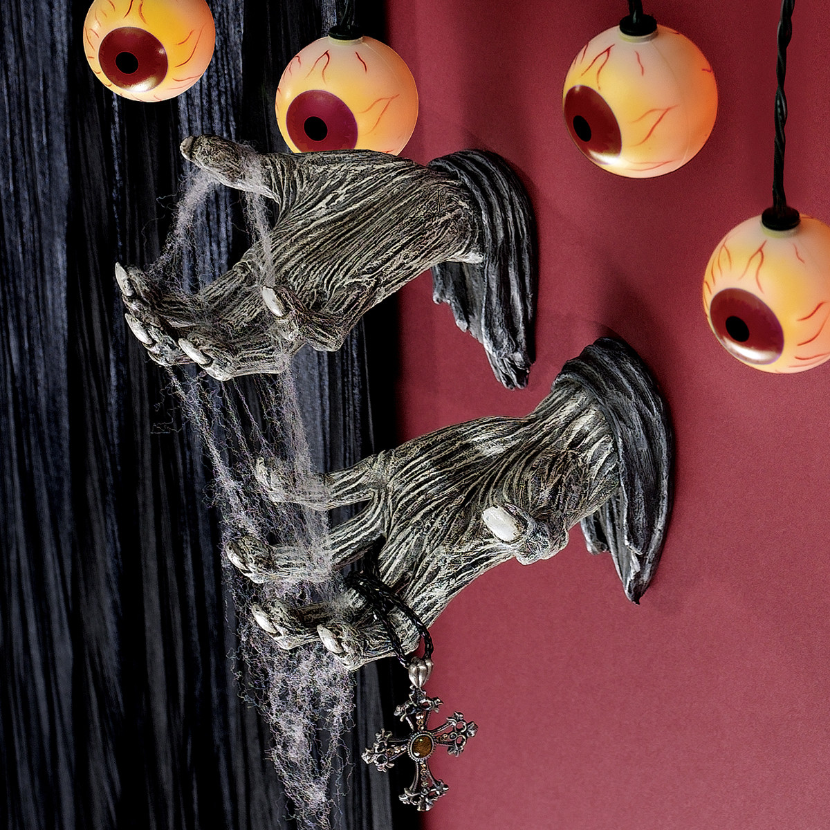 a large collection of hair raising halloween decorations