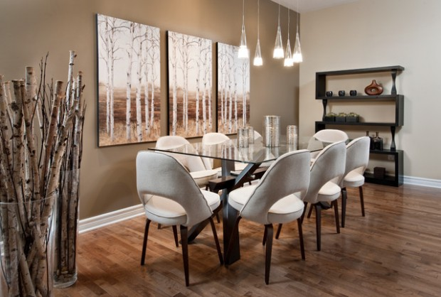 18 modern dining room design ideas style motivation for Decorating ideas large dining room wall