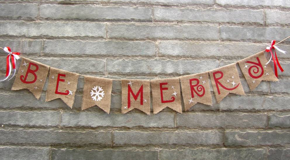 20 amazing decorating ideas with christmas banners - Merry Christmas Burlap Banner