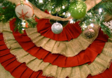 20 Beautiful Christmas Tree Skirt Designs - winter, White, tree skirt, tree, snow, skirt, santa, red, holiday, green, Christmas tree skirt, Christmas tree, Christmas, burlap