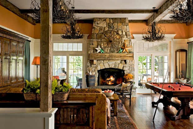 18 cozy rustic living room design ideas style motivation for French country stone fireplace