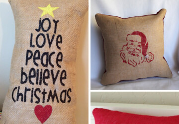 26 Awesome Handmade Christmas Pillows and Covers - snow, snoflake, santa, reindeer, pillows, pillowcase, pillow cover, Pillow, holiday, handmade, deer, decorations, decoration, crafts, craft, Christmas Decorations, Christmas, burlap