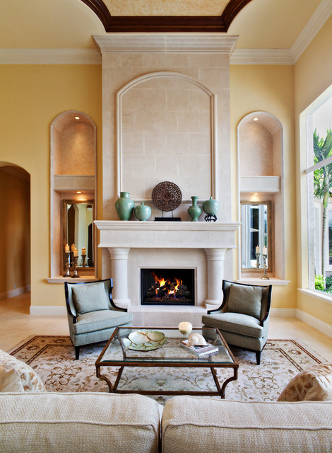16 gorgeous living room design ideas in mediterranean for Living room fireplace designs