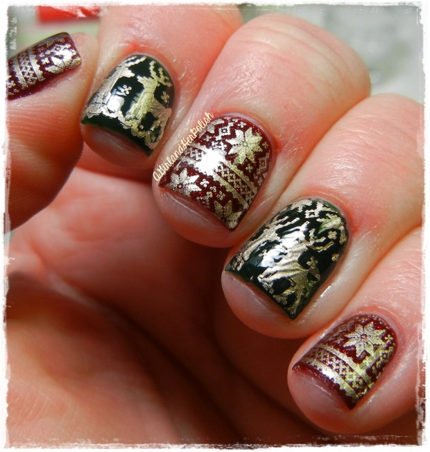 20 Sparkly and Glitter Nail Art Ideas in Christmas Spirit (5)