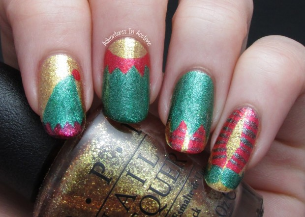 20 Sparkly and Glitter Nail Art Ideas in Christmas Spirit (7)