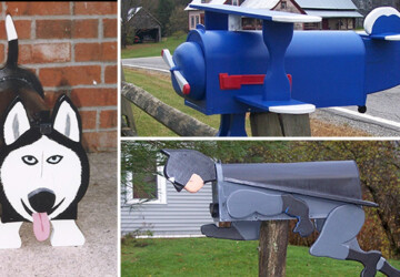 24 Creative & Funny Handmade Mailbox Designs - wood, van, truck, tractor, shark, post, outdoor, mailman, mailbox, mail, letter, guard, funny, dog, decor, cat, batman