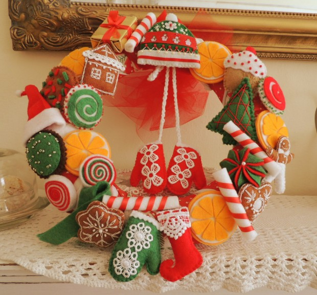 28 Fascinating Handmade Christmas Wreath Designs (20)