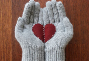 A Collection of Cute Handmade Christmas Gloves - winter, texting, snow, smiley, season, pacman, knitted, holiday, heart, hands, gloves, felt, dog, cold, Christmas, apple