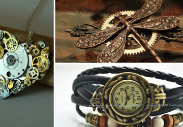 18 Beautiful Handmade Steampunk Accessories - wrist, watch, vintage, victorian, steel, steampunk, steam, retro, punk, parts, old, necklace, metal, key, jewelry, handmade, hair clip, filigree, Earrings, ear plugs, cufflinks, antique, Accessories