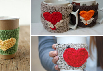 19 Simple yet Creative Handmade Cup Cozies - warm, valentine's, valentine, tea, red, Pink, heart, handmade, diy, cup, crochet, cozy, Coffee