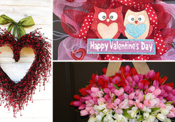 20 Heart Melting Handmade Valentine's Wreaths - wreath, valentine's, valentine, tulip, roses, rose, red, Pink, outdoor, mesh, heart, handmade, Flower, felt, door, decoration, decor, day, burlap, beautiful