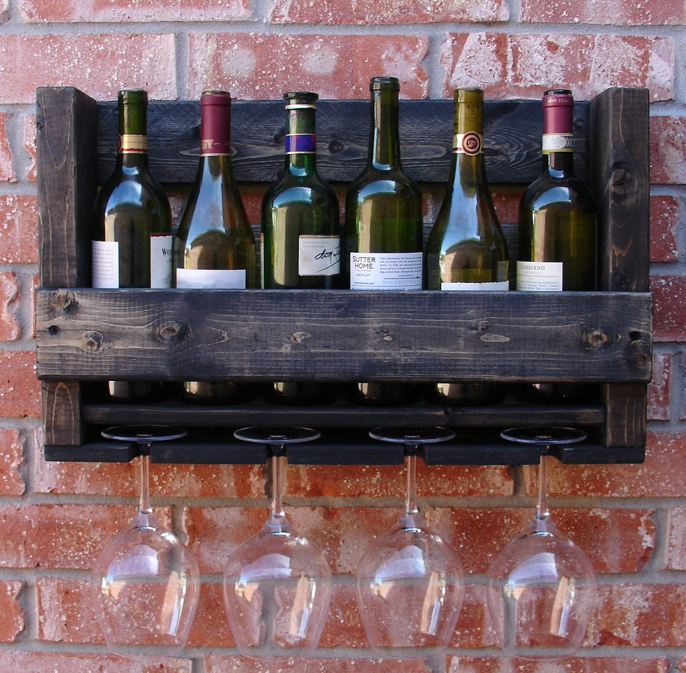 Hanging wine rack with glass holder - 24 Creative And Classy Wine Rack Designs