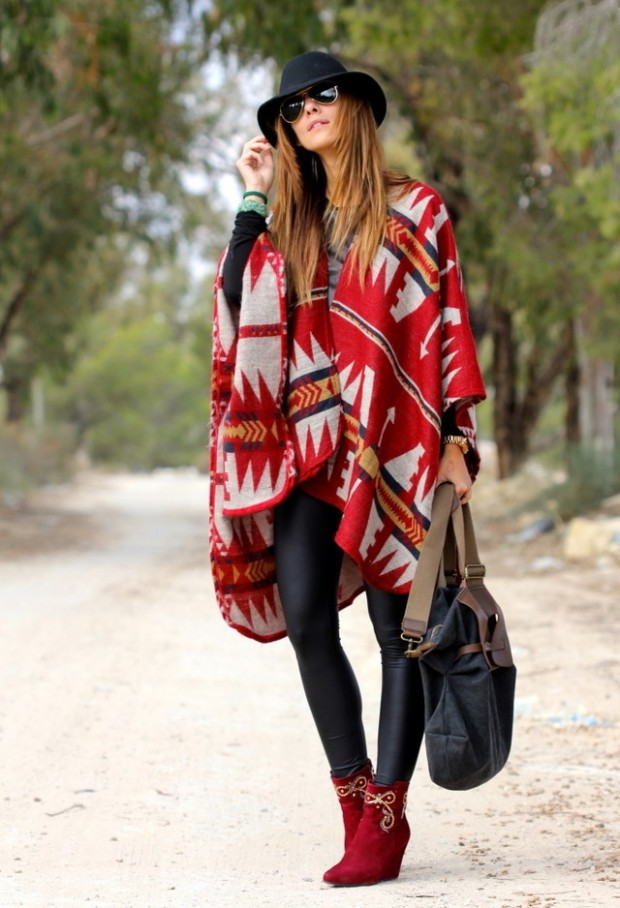 17 Amazing Outfit Ideas with Capes and Ponchos  (12)