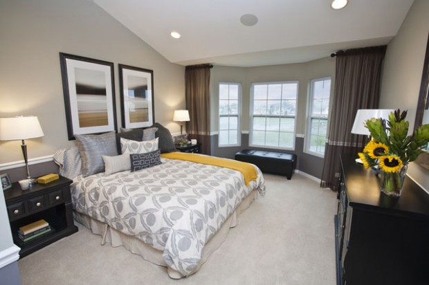 20 beautiful gray master bedroom design ideas style for Bedroom ideas yellow and grey