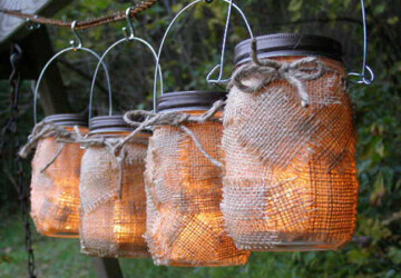 16 Decorative Handmade Outdoor Lighting Designs - yard, wine, upcycled, torch, tiki, tea, spring, solar, outdoor, night, mason, lights, lighting, light, jar, handmade, garden, decoration, dark, color, bottle