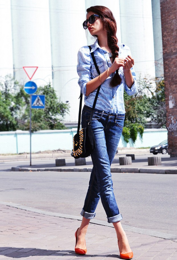 20 Stylish Outfit Ideas with Denim Shirt (10)